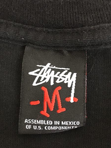 [5] 古着 Stussy ステューシー BIG ネオン ロゴ Tシャツ 黒 M 古着