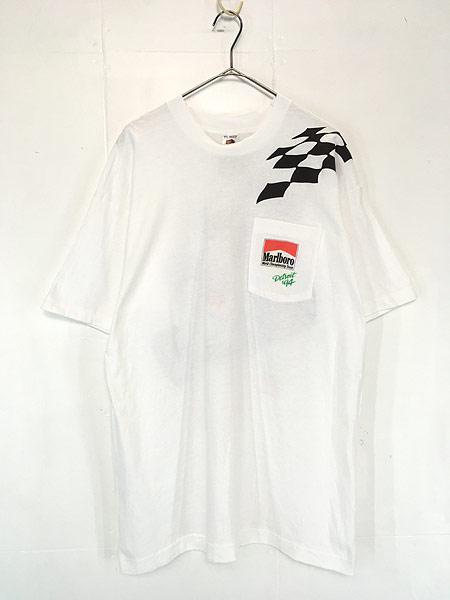 [1] 古着 90s USA製 Marlboro F1 チェッカー フラッグ ポケット Tシャツ ポケT XL 古着