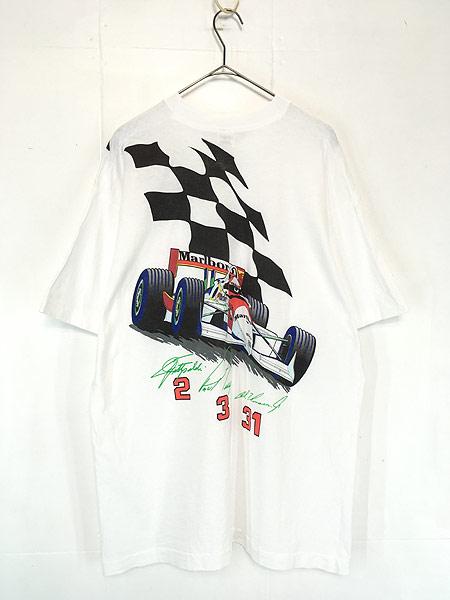 [2] 古着 90s USA製 Marlboro F1 チェッカー フラッグ ポケット Tシャツ ポケT XL 古着