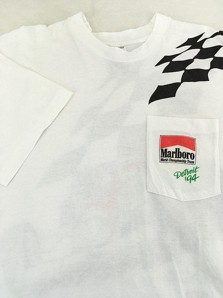 [3] 古着 90s USA製 Marlboro F1 チェッカー フラッグ ポケット Tシャツ ポケT XL 古着