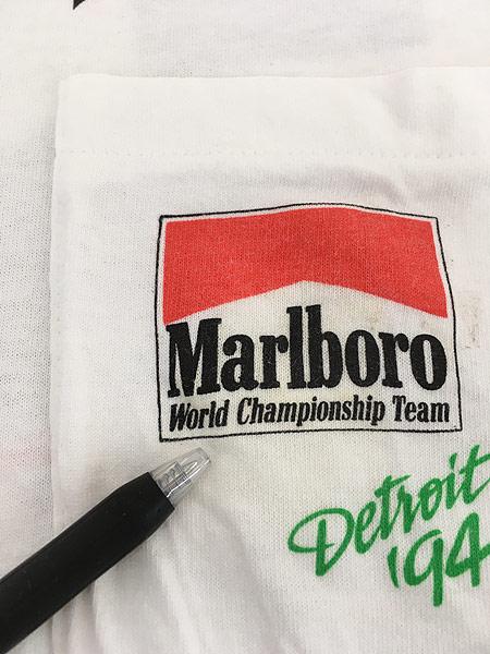 [4] 古着 90s USA製 Marlboro F1 チェッカー フラッグ ポケット Tシャツ ポケT XL 古着