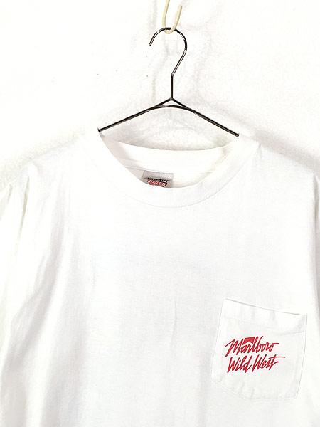 [2] 古着 90s USA製 Marlboro Wild West ウエスタン ロデオ ポケット Tシャツ ポケT XL 古着