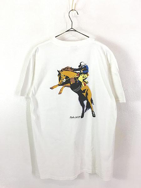 [3] 古着 90s USA製 Marlboro Wild West ウエスタン ロデオ ポケット Tシャツ ポケT XL 古着