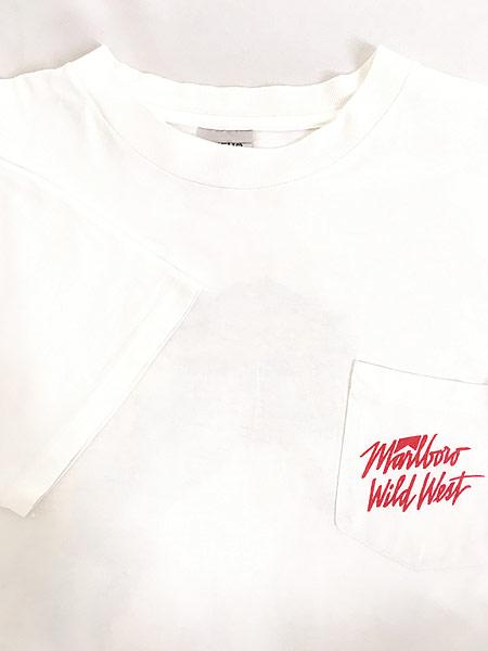 [4] 古着 90s USA製 Marlboro Wild West ウエスタン ロデオ ポケット Tシャツ ポケT XL 古着