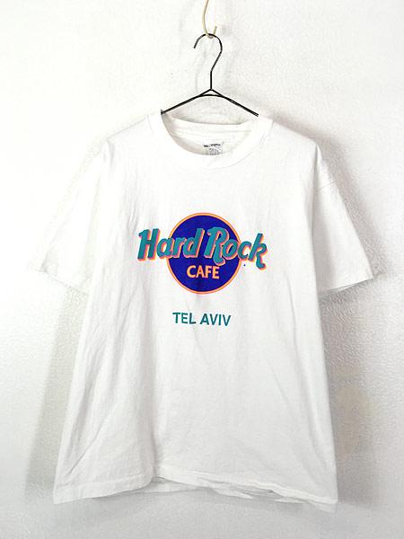 [1] 古着 90s USA製 Hard Rock Cafe 「TEL AVIV」 BIGロゴ ハードロック Tシャツ L 古着
