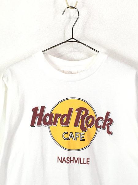 [2] 古着 90s USA製 Hard Rock Cafe 「NASHVILLE」 BIGロゴ ハードロック Tシャツ L 古着