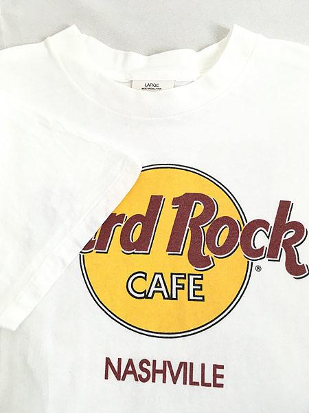 [4] 古着 90s USA製 Hard Rock Cafe 「NASHVILLE」 BIGロゴ ハードロック Tシャツ L 古着