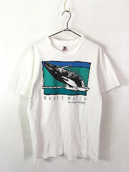 [1] 古着 90s USA製 「WHALE WATCH」 クジラ ポップ アート Tシャツ L 古着