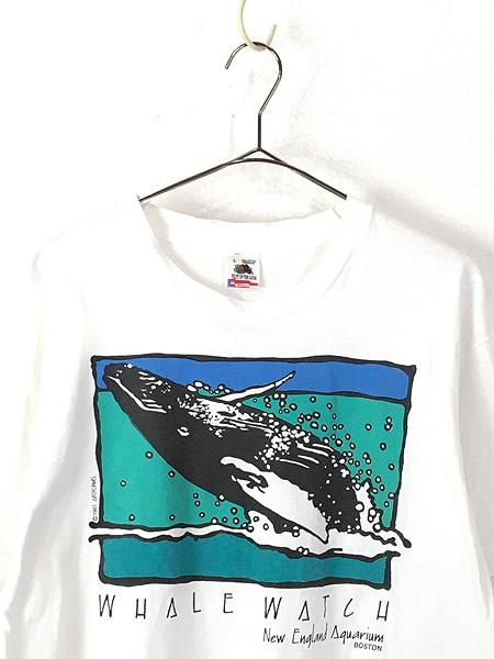 [2] 古着 90s USA製 「WHALE WATCH」 クジラ ポップ アート Tシャツ L 古着