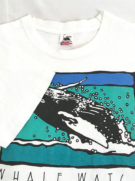 [4] 古着 90s USA製 「WHALE WATCH」 クジラ ポップ アート Tシャツ L 古着