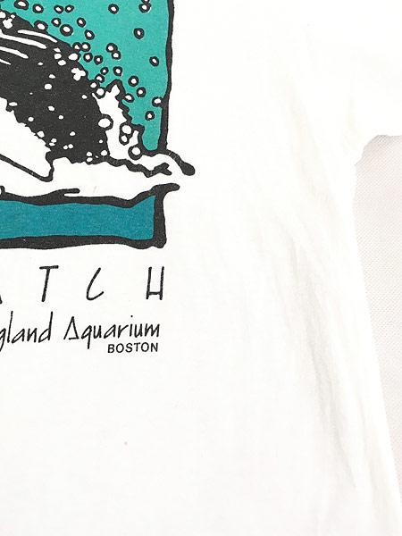 [6] 古着 90s USA製 「WHALE WATCH」 クジラ ポップ アート Tシャツ L 古着