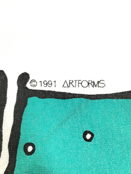 [7] 古着 90s USA製 「WHALE WATCH」 クジラ ポップ アート Tシャツ L 古着