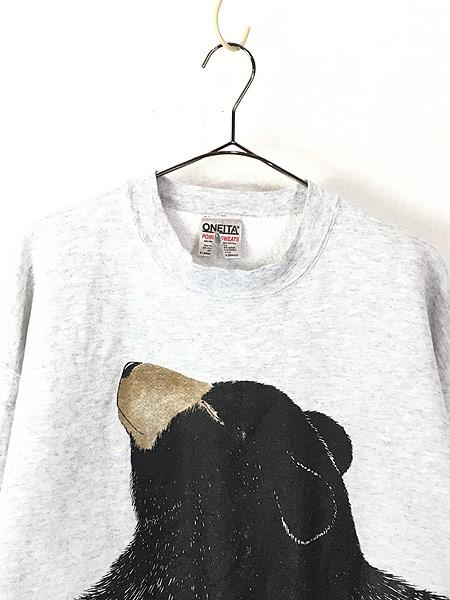 [2] 古着 90s USA製 「A Hug...」 クマさんとハグ アニマル アート スウェット XL 古着