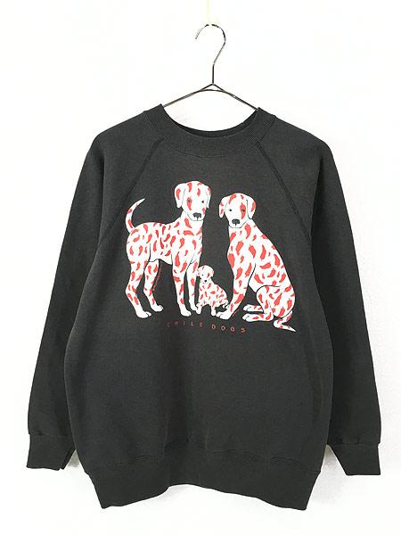 [1] 古着 90s USA製 「CHILE DOG」 犬 ワンちゃん ポップ アート スウェット M 古着