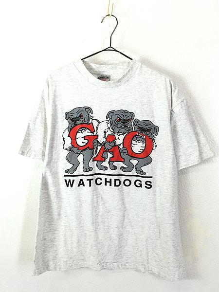 [1] 古着 90s USA製 「WATCH DOGS」 強面 ブルドッグ 犬 ワンちゃん Tシャツ L 古着