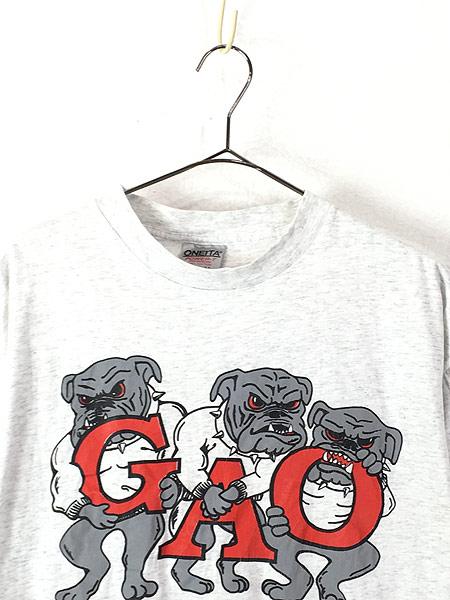 [2] 古着 90s USA製 「WATCH DOGS」 強面 ブルドッグ 犬 ワンちゃん Tシャツ L 古着