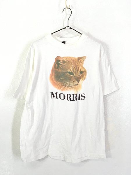 [1] 古着 80s MORRIS 猫 ネコ フォト ピクチャー アニマル Tシャツ XL 古着