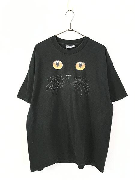 [1] 古着 90s 猫 ネコ アニマル シルエット Tシャツ 黒 XL 古着