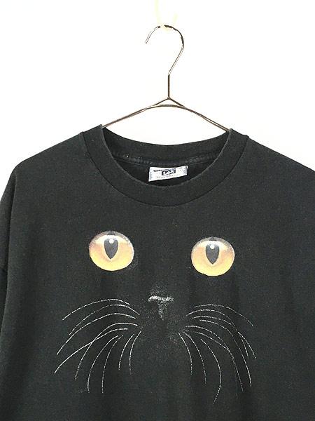 [2] 古着 90s 猫 ネコ アニマル シルエット Tシャツ 黒 XL 古着
