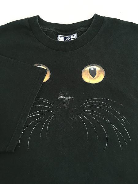 [4] 古着 90s 猫 ネコ アニマル シルエット Tシャツ 黒 XL 古着