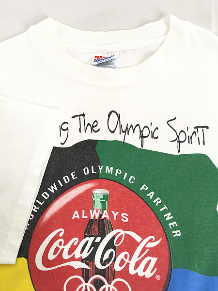 [4] 古着 90s Coca Cola 「OLYMPIC PARTNER」 コーラ BIG ロゴ Tシャツ XL 古着