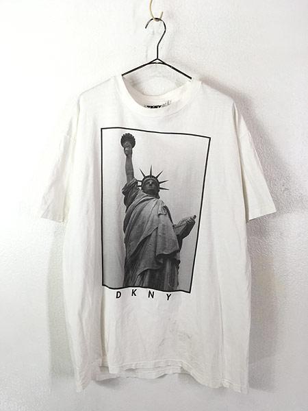 [1] 古着 90s USA製 DKNY 自由の女神 BIG フォト ピクチャー Tシャツ XL位 古着
