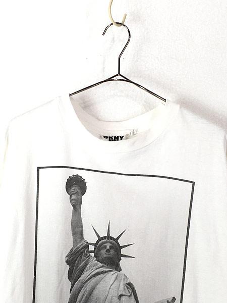 [2] 古着 90s USA製 DKNY 自由の女神 BIG フォト ピクチャー Tシャツ XL位 古着