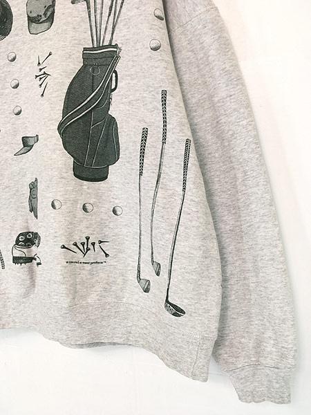[3] 古着 90s USA製 rel e vant products ゴルフ グッズ アート スウェット XL 古着