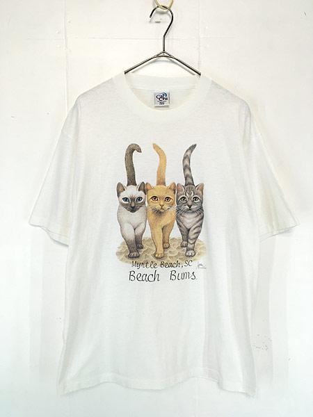 [1] 古着 90s USA製 「Beach Bums」 猫 ネコ アニマル Tシャツ L 古着