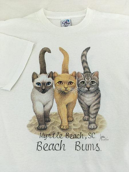 [3] 古着 90s USA製 「Beach Bums」 猫 ネコ アニマル Tシャツ L 古着