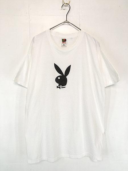 [1] 古着 90s PLAY BOY プレイ ボーイ モノトーン ロゴ Tシャツ XL 古着
