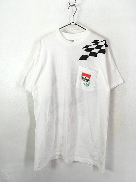 [1] 古着 90s USA製 Marlboro F1 チェッカー フラッグ ポケット Tシャツ ポケT XL 古着�