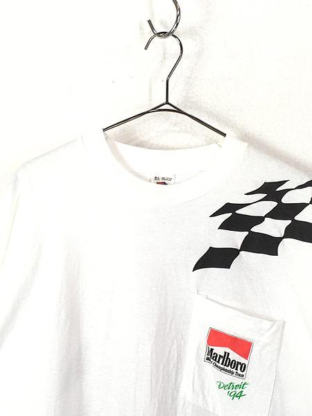 [2] 古着 90s USA製 Marlboro F1 チェッカー フラッグ ポケット Tシャツ ポケT XL 古着�