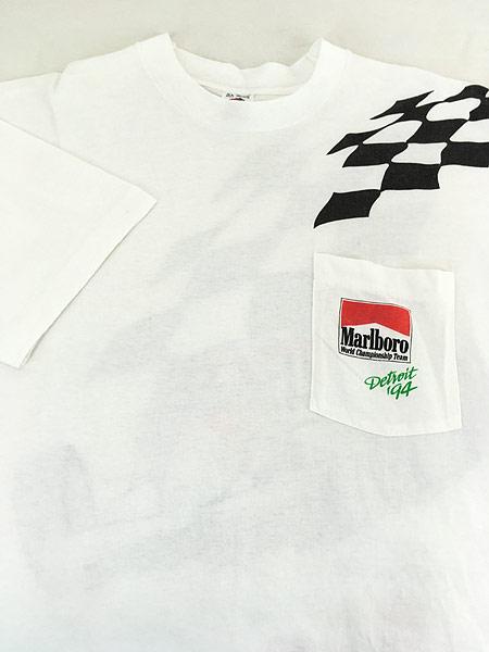 [3] 古着 90s USA製 Marlboro F1 チェッカー フラッグ ポケット Tシャツ ポケT XL 古着�