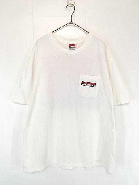 [1] 古着 90s USA製 Marlboro UNLIMITED 地図 マップ ポケット Tシャツ ポケT XL位 古着
