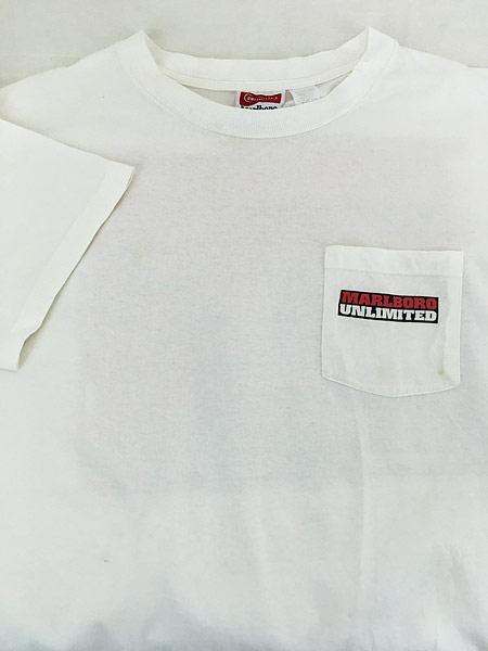 [3] 古着 90s USA製 Marlboro UNLIMITED 地図 マップ ポケット Tシャツ ポケT XL位 古着