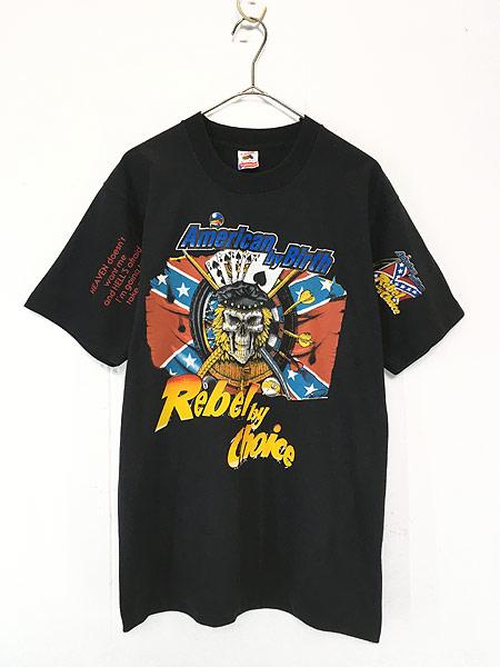 [1] 古着 90s USA製 「American by Birth」 豪華 スカル ドクロ マルチ Tシャツ L 古着