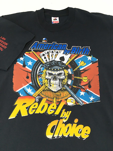 [3] 古着 90s USA製 「American by Birth」 豪華 スカル ドクロ マルチ Tシャツ L 古着