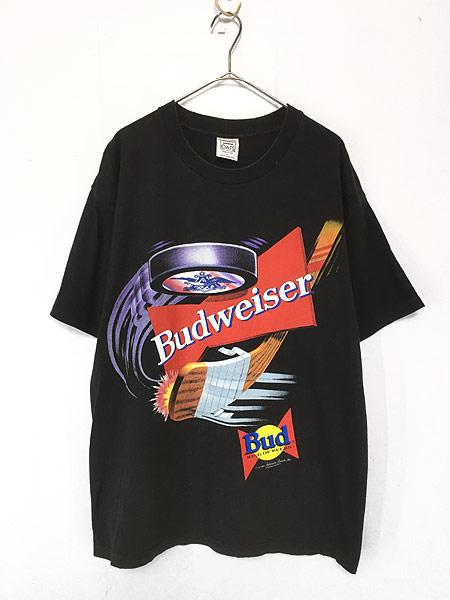 [1] 古着 90s USA製 Budweiser バドワイザー ビール ホッケー Tシャツ XL 古着