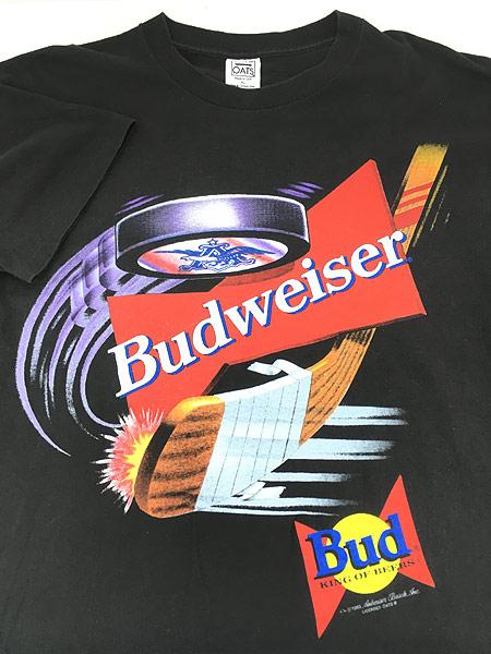 [3] 古着 90s USA製 Budweiser バドワイザー ビール ホッケー Tシャツ XL 古着