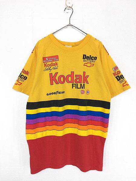 [1] 古着 90s USA製 Kodak マルチ ボーダー レーシング Tシャツ L 古着