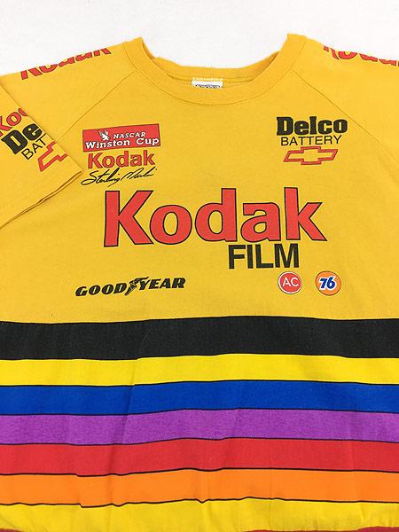 [3] 古着 90s USA製 Kodak マルチ ボーダー レーシング Tシャツ L 古着