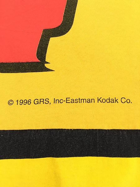 [6] 古着 90s USA製 Kodak マルチ ボーダー レーシング Tシャツ L 古着
