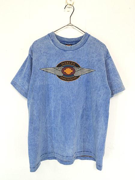 [1] 古着 90s USA製 HARLEY DAVIDSON ウィング ストーン ウォッシュ Tシャツ L 古着