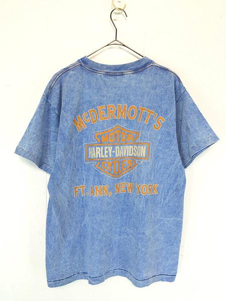 [2] 古着 90s USA製 HARLEY DAVIDSON ウィング ストーン ウォッシュ Tシャツ L 古着