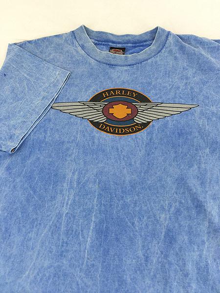 [3] 古着 90s USA製 HARLEY DAVIDSON ウィング ストーン ウォッシュ Tシャツ L 古着