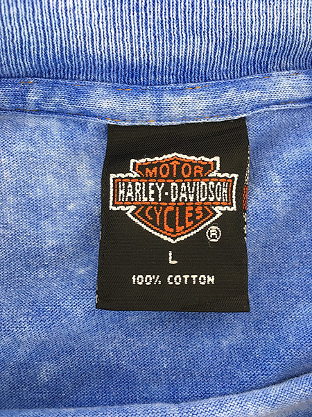 [5] 古着 90s USA製 HARLEY DAVIDSON ウィング ストーン ウォッシュ Tシャツ L 古着