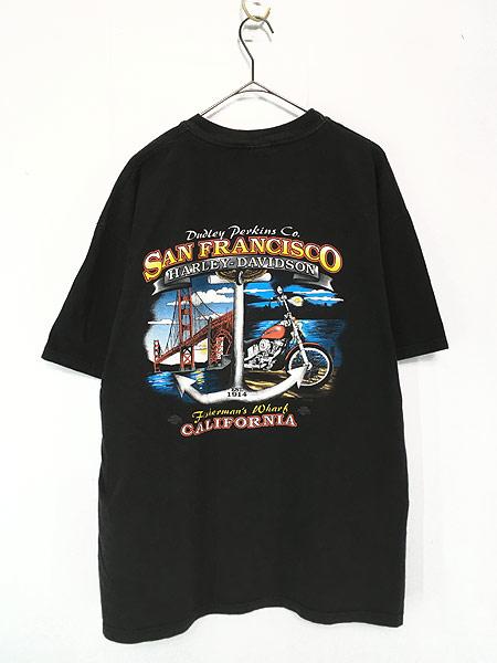 [2] 古着 90s USA製 HARLEY DAVIDSON シールド&バー モーター Tシャツ XL 古着
