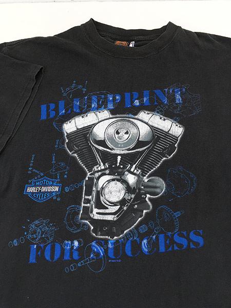 [3] 古着 90s HARLEY DAVIDSON 「BLUE PRINT」 ツインカム モーター Tシャツ XL 古着