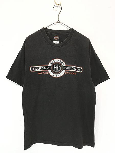 [1] 古着 00s USA製 HARLEY DAVIDSON 「WHITT'S」 エンブレム モーター Tシャツ L 古着